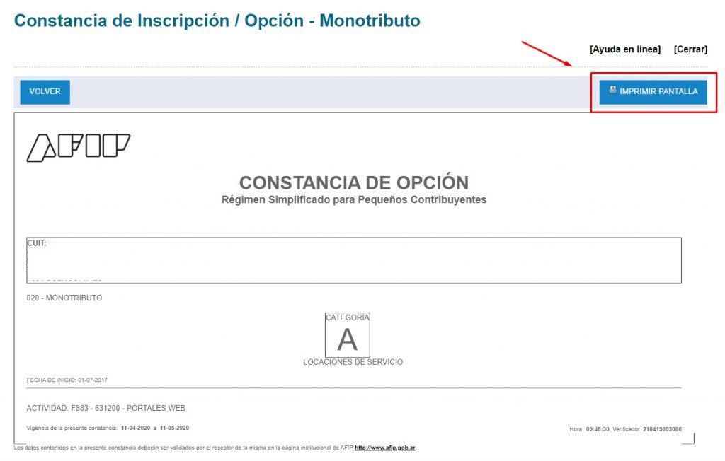Imprimir constancia de inscripción