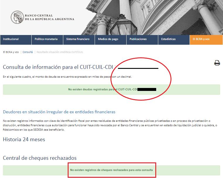 Resultado del Informe por CUIT del BCRA, en este caso el CUIT no se encuentra en el veraz